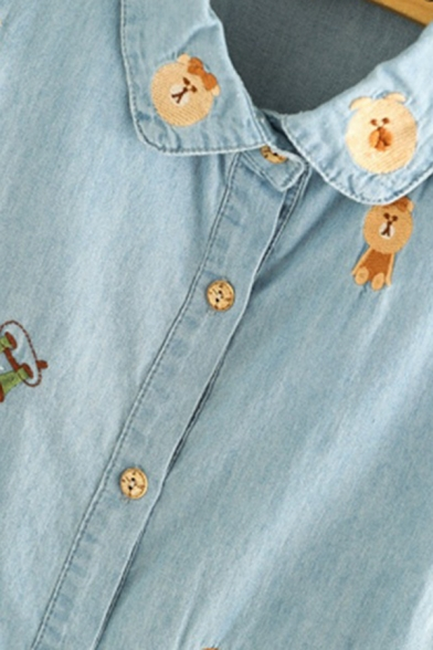 Trendy Ladies' Light Blue Long Sleeve Lapel Collar Bear Embroidered Button Down Long Loose Denim Shirt