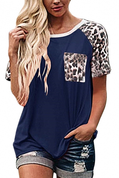Women's Popular Short Sleeve Round Neck Leopard Printed Pocket Panel Relaxed Fit T Shirt