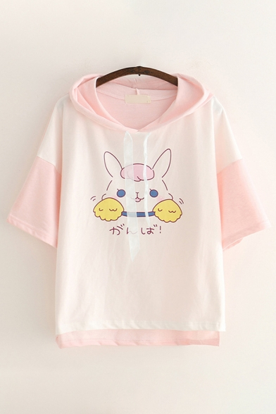 Cute Girls Short Sleeve Drawstring Japanese Letter Rabbit Graphic Colorblock Relaxed Fit Hoodie
