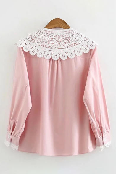 Girls' Trendy Long Sleeve Peter Pan Collar Lace Panel Button Front Relaxed Fit Shirt