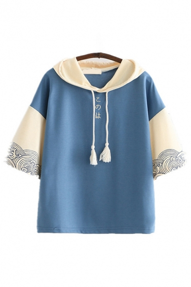 Harajuku Girls Short Sleeve Tassel Drawstring Japenese Letter Floral Graphic Colorblock Relaxed Fit Hoodie