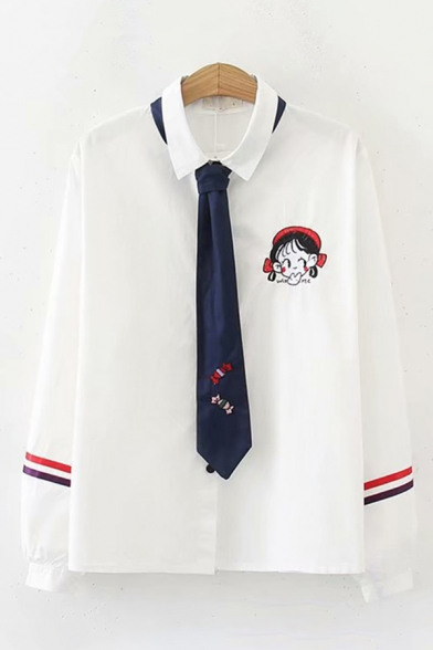 Preppy Girls' White Long Sleeve Lapel Collar Button Down Varsity Stripe Cartoon Girl Printed Relaxed Shirt with Tie