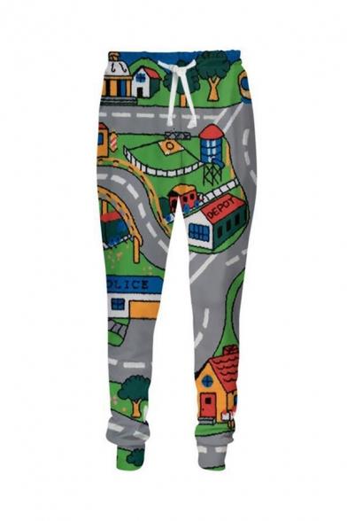 Stylish Street Guys' Drawstring Waist Game 3D Printed Long Slim Pants in Grey