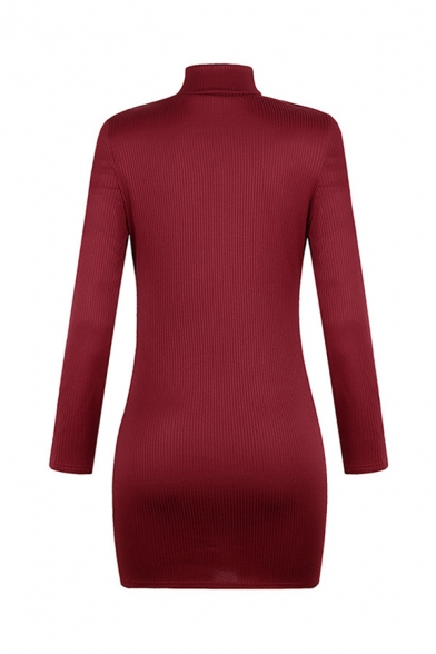 Women's Sexy Long Sleeve Mock Neck Cut Out Front Knitted Solid Color Mini Tight Dress