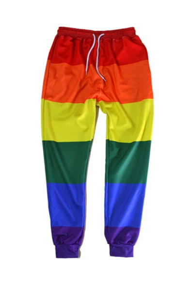 Amazing Casual Drawstring Rainbow Colorblocked Cuffed Taper Fit Trousers in Red