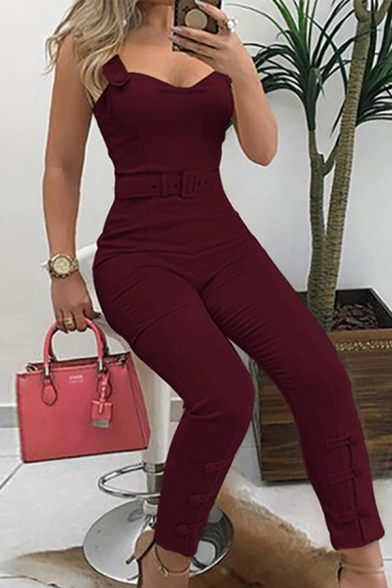 Casual Fashion Solid Color Sleeveless Belted Long Tight Jumpsuit for Women