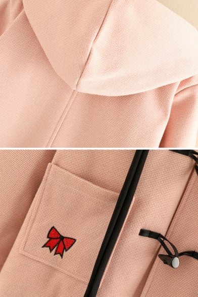 Classic Ladies' Long Sleeve Hooded Rabbit Bow Tie Embroidery Oversize Wool Duffle Coat