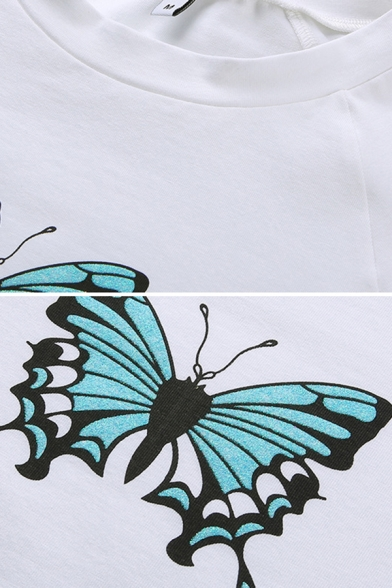 Edgy Looks White Long Sleeve Mock Neck Butterfly Patterned Stringy Selvedge Slim Fitted Crop T Shirt