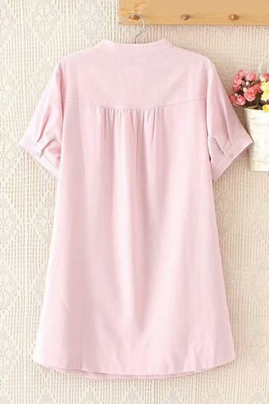 eisure Womens Short Sleeve V-Neck Button Down Solid Color Mid Swing Dress