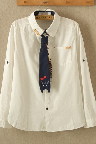 New Trendy Girls Long Sleeve Lapel Collar Cat Button Detail Relaxed White Shirt with Tie