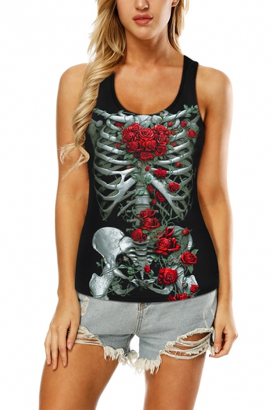 Pretty Cool Girls Sleeveless Round Neck Skull Floral Printed Hollow Out Back Relaxed Tank Top in Black