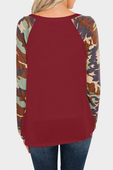Simple Cozy Ladies' Long Sleeve Round Neck Camo Printed Relaxed Fit T-Shirt