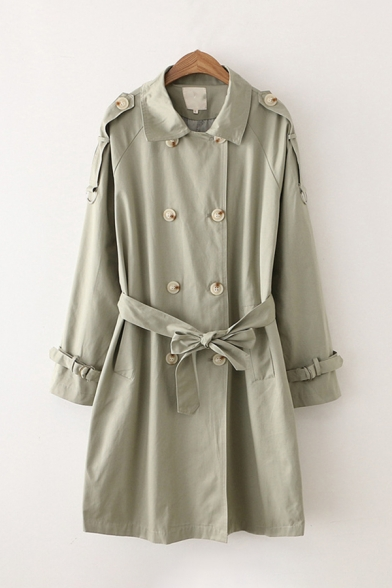 Stylish Classic Long Sleeve Lapel Collar Double Breasted Bow Tie Waist Button Detail Long Trench Coat for Women