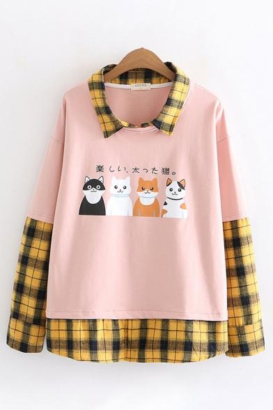 Women's Stylish Long Sleeve Lapel Collar Checkered Patchwork Japanese Cat Print Loose Fit Shirt
