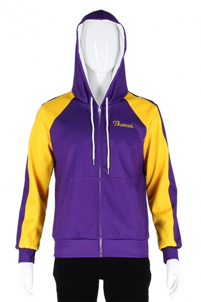 ashionable Purple Long Sleeve Drawstring Letter THANOS Finger Gesture Printed Colorblocked Zip Up Hoodie