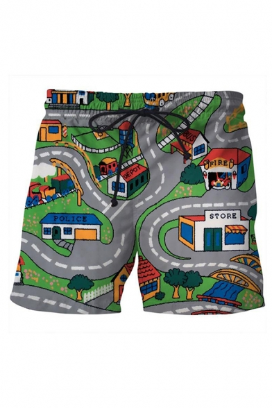 Casual Gray Drawstring Waist Game 3D Pattern Slim Fit Shorts for Boys