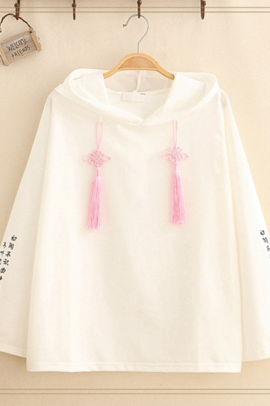 Chinese Style Girls' Long Sleeve Fringe Chinese Knots Drawstring Chinese Letter Print Loose Fit Hoodie