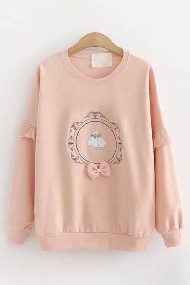Lovely Girls Long Sleeve Round Neck Embroidery Bow Tie Lace Trim Loose Fit Pullover Sweatshirt