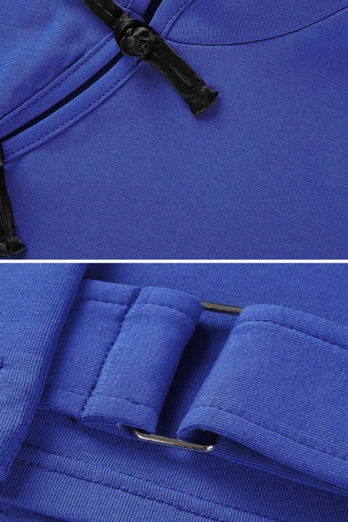 Popular Ladies Plain Long Sleeve Mandarin Collar Frog Button Buckle Belt Slim Crop Tee Top with Bag