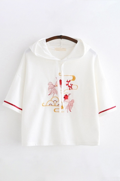 Trendy Ladies Three-Quarter Sleeves Drawstring Goldfish Embroidered Striped Relaxed Hoodie