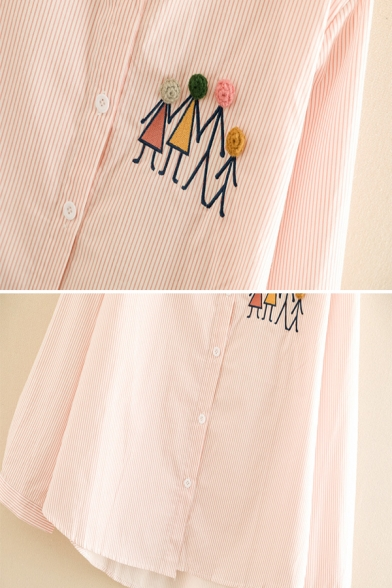 Women's Popular Long Sleeve Lapel Neck Button Down Contrasted Cartoon Embroidered Striped Loose Shirt