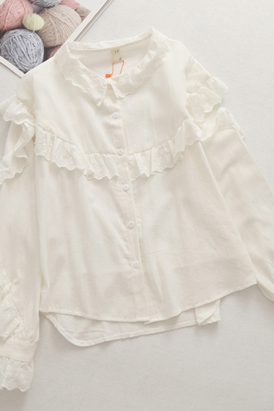 Chic White Long Sleeve Lapel Collar Button Down Ruffled Trim Relaxed Fit Shirt for Girls