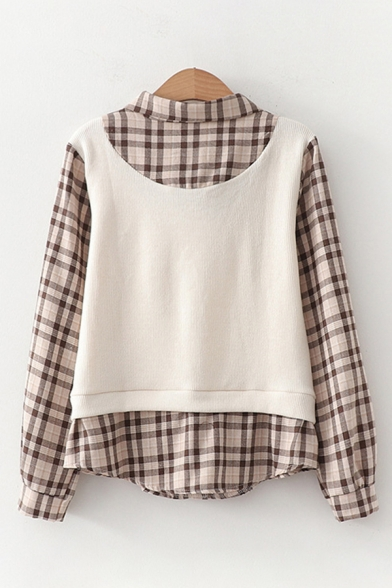 False Two Piece Long Sleeve Tied Neck Plaid Printed Knitted Patched Relaxed Fit Fashion Shirt for Women