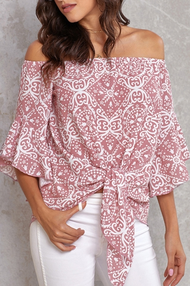 Fancy Ladies' Bell Sleeves Off the Shoulder All Over Flower Pattern Tied Hem Fitted Shirt