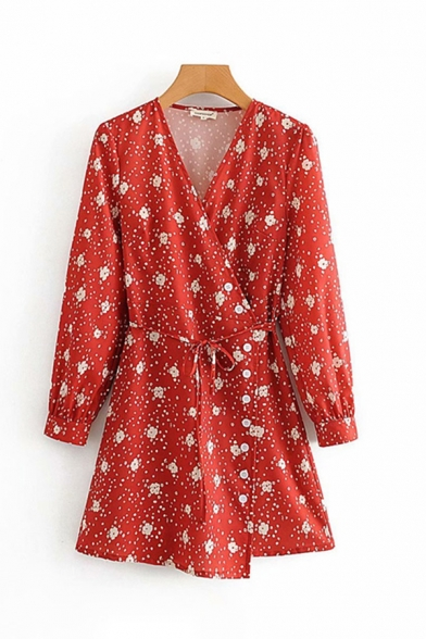 Fancy Ladies Long Sleeve Surplice Neck All-Over Floral Patterned Bow Tie Waist Short A-Line Wrap Dress in Red LM599370 фото