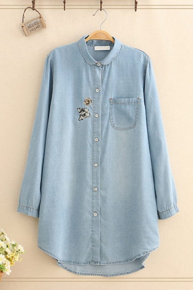 Ladies' Trendy Long Sleeve Lapel Collar Button Front Cat Embroidered Pocket Panel Longline Oversize Shirt in Blue