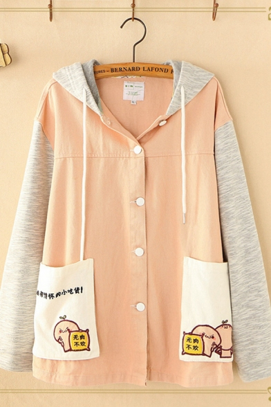Popular Long Sleeve Button Down Drawstring Chinese Letter Cartoon Graphic Pockets Panel Color Block Relaxed Jacket