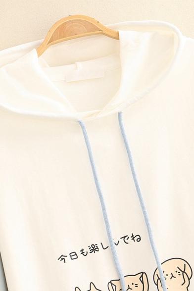 Preppy Girls' Long Sleeve Cat Printed Japanese Letter Drawstring Flap Pockets Color Block Loose Hoodie
