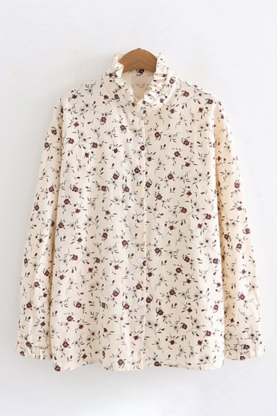 Pretty Womens Beige Long Sleeve Stand Collar Button Down All Over Floral Printed Stringy Selvedge Relaxed Shirt