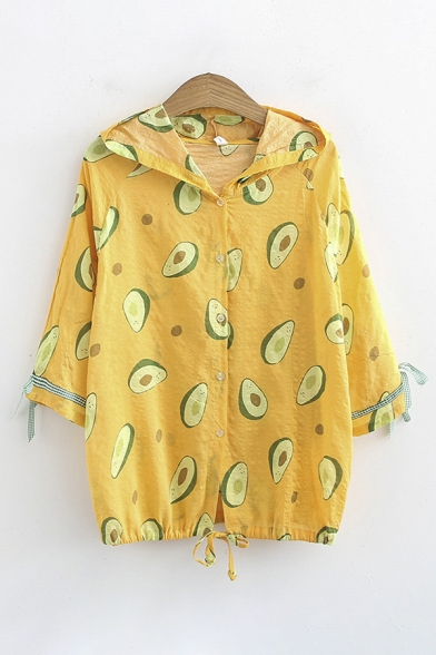 Stylish Girls' Tied Sleeves Button Down All Over Avocado Print Relaxed Fit Shirt