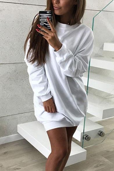 Stylish Women's Long Sleeve Crew Neck Solid Color Oversize Pullover Sweatshirt