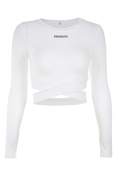 Stylish Womens Long Sleeve Round Neck Letter SUCH CUTE Criss Cross Fitted Crop Tee
