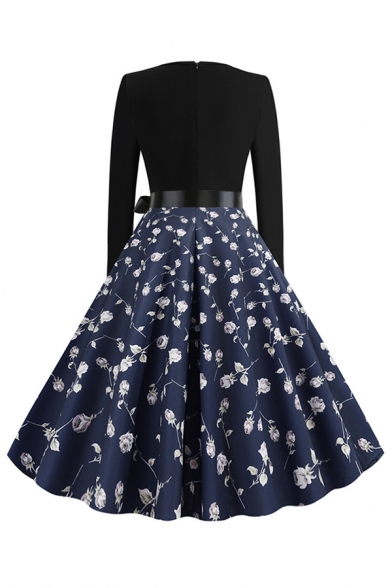 Vintage Women's Long Sleeve Round Neck Bow Tie Waist Flower Pattern Panel Maxi Pleated Swing Dress for Prom