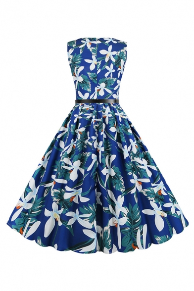 Vintage Women's Sleeveless Round Neck All Over Flamingo Floral Print Maxi Pleated Flared Dress