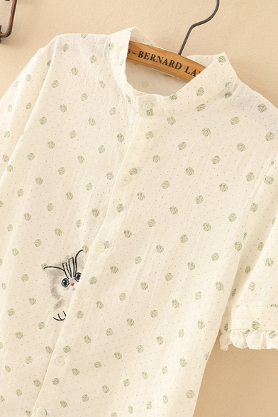 ancy Girls Green Short Sleeve Stand Collar Button Down Polka Dot Stringy Selvedge Cat Embroidery High Low Long Swing Dress
