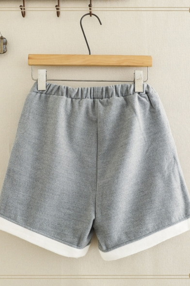 Casual Cozy Women's Elastic Waist Cat Embroidery Letter FISH Rolled Cuffs Wide Leg Shorts in Gray