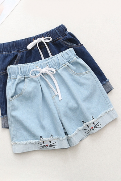 Casual Fashion Drawstring Waist Cat Embroidery Cuffed Raw Edge Relaxed Fit Denim Shorts