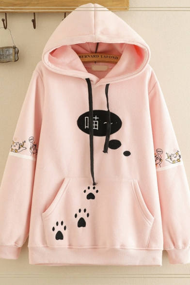 Casual Women's Long Sleeve Drawstring Chinese Letter Footprint Pattern Pouch Pocket Relaxed Fit Hoodie, Pink;white;navy, LM596747