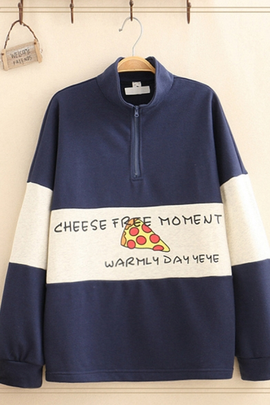 Fashion Women's Long Sleeve Stand Collar Letter CHEESE FREE MOMENT Cheese Graphic Colorblock Half Zipper Loose Sweatshirt