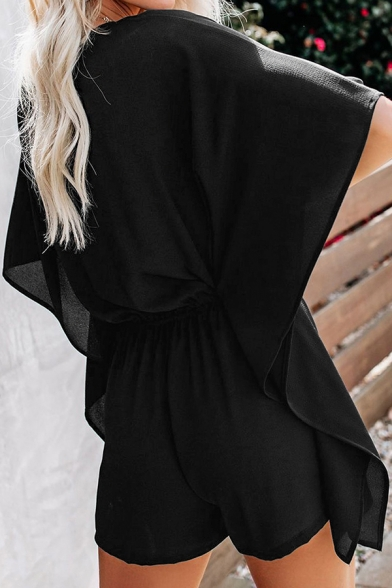 Fashionable Ladies's Solid Color Bell Sleeves V-Neck Ruffle Trim Drawstring Waist Short Rompers