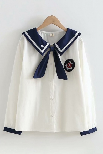 Girls' Trendy Long Sleeve Sailor Collar Button Down Tied Front Contrasted Embroidery Relaxed Fit Shirt