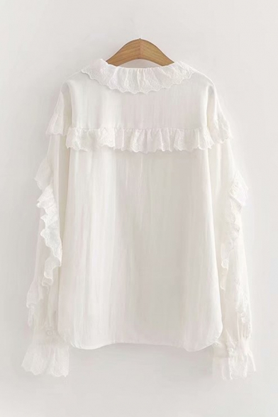 Lovely Girls Long Sleeve Lapel Neck Button Down Ruffle Trimmed Relaxed Fitted Shirt in White
