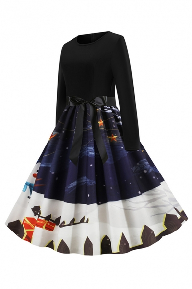 Lovely Girls Long Sleeve Round Neck Bow Tie Waist Snowman Santa Claus Pattern Maxi Pleated Flared Christmas Dress