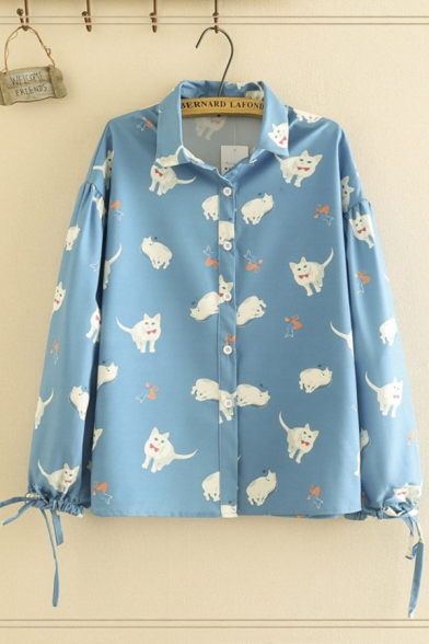 Pretty Blue Long Sleeve Lapel Neck Button Front All Over Cat Printed Drawstring Relaxed Shirt for Ladies