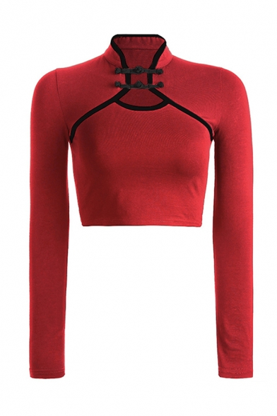 Vintage Girls Long Sleeve Mandarin Collar Frog Button Hollow Out Contrast Pipe Fitted Crop T Shirt