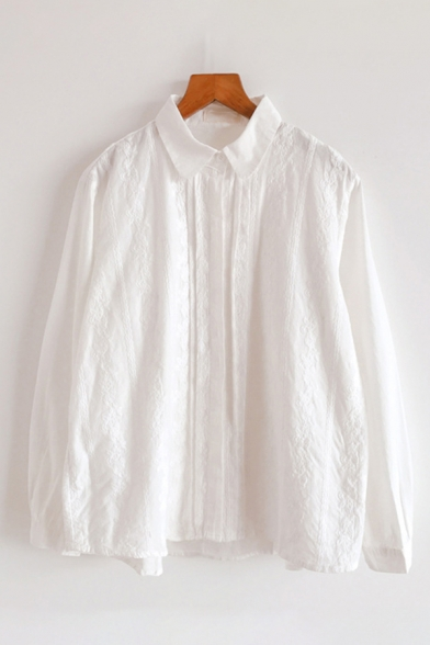 White Fashionable Long Sleeve Lapel Collar Button Down Floral Embroidery Loose Fit Shirt for Girls